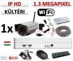 Sec-CAM 1.3MP WIFI IP - KÜLTÉRI WIFI KOMPAKT KAMERA - 1 KAMERÁS KOMPLETT KAMERARENDSZER - vezeték nélküli valódi 1.3 MegaPixel (HD 960p) biztonsági megfigyelő szett