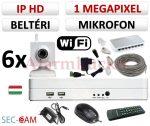 Sec-CAM 1MP WIFI IP - BELTÉRI WIFI KOCKA KAMERA - 6 KAMERÁS KOMPLETT KAMERARENDSZER - vezeték nélküli hangrögzítős valódi 1 MegaPixel (HD 720p) biztonsági megfigyelő szett