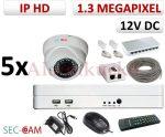 Sec-CAM 1.3MP IP - KÜLTÉRI / BELTÉRI DÓM KAMERA - 5 KAMERÁS KOMPLETT KAMERARENDSZER - valódi 1.3 MegaPixel (HD 960p) biztonsági megfigyelő szett