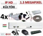 Sec-CAM 1.3MP IP - KÜLTÉRI KOMPAKT KAMERA - 4 KAMERÁS KOMPLETT KAMERARENDSZER - valódi 1.3 MegaPixel (HD 960p) biztonsági megfigyelő szett