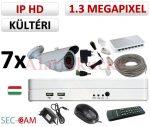 Sec-CAM 1.3MP IP - KÜLTÉRI KOMPAKT KAMERA - 7 KAMERÁS KOMPLETT KAMERARENDSZER - valódi 1.3 MegaPixel (HD 960p) biztonsági megfigyelő szett