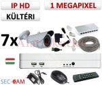 Sec-CAM 1MP IP - KÜLTÉRI KOMPAKT KAMERA - 7 KAMERÁS KOMPLETT KAMERARENDSZER - valódi 1 MegaPixel (HD 720p) biztonsági megfigyelő szett