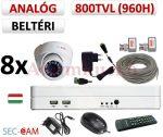 Sec-CAM 960H - 800-1200TVL (0.55MP) ANALÓG - BELTÉRI DÓM KAMERA - 8 KAMERÁS KOMPLETT KAMERARENDSZER - biztonsági megfigyelő szett