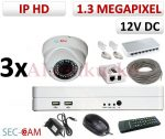 Sec-CAM 1.3MP IP - KÜLTÉRI / BELTÉRI DÓM KAMERA - 3 KAMERÁS KOMPLETT KAMERARENDSZER - valódi 1.3 MegaPixel (HD 960p) biztonsági megfigyelő szett