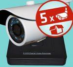 Sec-CAM 1MP AHD - KÜLTÉRI KOMPAKT KAMERA - 5 KAMERÁS KOMPLETT KAMERARENDSZER - valódi 1 MegaPixel (HD 720p) biztonsági megfigyelő szett