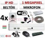 Sec-CAM 1MP WIFI IP - BELTÉRI WIFI KOCKA KAMERA - 4 KAMERÁS KOMPLETT KAMERARENDSZER - vezeték nélküli hangrögzítős valódi 1 MegaPixel (HD 720p) biztonsági megfigyelő szett