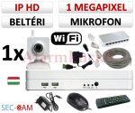 Sec-CAM 1MP WIFI IP - BELTÉRI WIFI KOCKA KAMERA - 1 KAMERÁS KOMPLETT KAMERARENDSZER - vezeték nélküli hangrögzítős valódi 1 MegaPixel (HD 720p) biztonsági megfigyelő szett