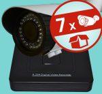 Sec-CAM 2MP POE (48V DC) IP - VARIFOKÁLIS KÜLTÉRI KOMPAKT KAMERA - 7 KAMERÁS KOMPLETT KAMERARENDSZER - valódi 2 MegaPixel (FULL HD 1080p) biztonsági megfigyelő szett - ATLANTIS NVR