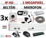 Sec-CAM 1MP WIFI IP - BELTÉRI WIFI KOCKA KAMERA - 3 KAMERÁS KOMPLETT KAMERARENDSZER - vezeték nélküli hangrögzítős valódi 1 MegaPixel (HD 720p) biztonsági megfigyelő szett