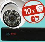 Sec-CAM 2MP AHD - KÜLTÉRI / BELTÉRI DÓM KAMERA - 10 KAMERÁS KOMPLETT KAMERARENDSZER - valódi 2 MegaPixel (FULL HD 1080p) biztonsági megfigyelő szett