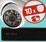 Sec-CAM 1MP IP - KÜLTÉRI / BELTÉRI DÓM KAMERA - 10 KAMERÁS KOMPLETT KAMERARENDSZER - valódi 1 MegaPixel (HD 720p) biztonsági megfigyelő szett