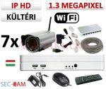 Sec-CAM 1.3MP WIFI IP - KÜLTÉRI WIFI KOMPAKT KAMERA - 7 KAMERÁS KOMPLETT KAMERARENDSZER - vezeték nélküli valódi 1.3 MegaPixel (HD 960p) biztonsági megfigyelő szett