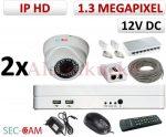 Sec-CAM 1.3MP IP - KÜLTÉRI / BELTÉRI DÓM KAMERA - 2 KAMERÁS KOMPLETT KAMERARENDSZER - valódi 1.3 MegaPixel (HD 960p) biztonsági megfigyelő szett
