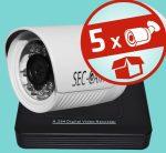Sec-CAM 2MP POE (48V DC) IP - KÜLTÉRI KOMPAKT KAMERA - 5 KAMERÁS KOMPLETT KAMERARENDSZER - valódi 2 MegaPixel (FULL HD 1080p) biztonsági megfigyelő szett - ATLANTIS NVR