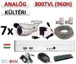 Sec-CAM 960H - 800-1200TVL (0.55MP) ANALÓG - KÜLTÉRI KOMPAKT KAMERA - 7 KAMERÁS KOMPLETT KAMERARENDSZER - biztonsági megfigyelő szett