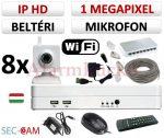 Sec-CAM 1MP WIFI IP - BELTÉRI WIFI KOCKA KAMERA - 8 KAMERÁS KOMPLETT KAMERARENDSZER - vezeték nélküli hangrögzítős valódi 1 MegaPixel (HD 720p) biztonsági megfigyelő szett