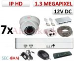Sec-CAM 1.3MP IP - KÜLTÉRI / BELTÉRI DÓM KAMERA - 7 KAMERÁS KOMPLETT KAMERARENDSZER - valódi 1.3 MegaPixel (HD 960p) biztonsági megfigyelő szett