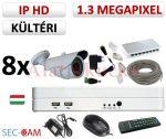 Sec-CAM 1.3MP IP - KÜLTÉRI KOMPAKT KAMERA - 8 KAMERÁS KOMPLETT KAMERARENDSZER - valódi 1.3 MegaPixel (HD 960p) biztonsági megfigyelő szett