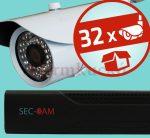 Sec-CAM 1MP IP - KÜLTÉRI KOMPAKT KAMERA - 32 KAMERÁS KOMPLETT KAMERARENDSZER - valódi 1 MegaPixel (HD 720p) biztonsági megfigyelő szett