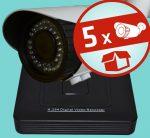 Sec-CAM 2MP POE (48V DC) IP - VARIFOKÁLIS KÜLTÉRI KOMPAKT KAMERA - 5 KAMERÁS KOMPLETT KAMERARENDSZER - valódi 2 MegaPixel (FULL HD 1080p) biztonsági megfigyelő szett - ATLANTIS NVR