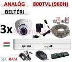 Sec-CAM 960H - 800-1200TVL (0.55MP) ANALÓG - BELTÉRI DÓM KAMERA - 3 KAMERÁS KOMPLETT KAMERARENDSZER - biztonsági megfigyelő szett
