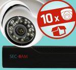 Sec-CAM 1MP AHD - KÜLTÉRI / BELTÉRI DÓM KAMERA - 10 KAMERÁS KOMPLETT KAMERARENDSZER - valódi 1 MegaPixel (HD 720p) biztonsági megfigyelő szett