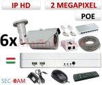 Sec-CAM 2MP 12V DC IP - VARIFOKÁLIS KÜLTÉRI KOMPAKT KAMERA - 6 KAMERÁS KOMPLETT KAMERARENDSZER - valódi 2 MegaPixel (FULL HD 1080p) biztonsági megfigyelő szett - NETPEARL NVR