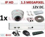 Sec-CAM 1.3MP IP - KÜLTÉRI / BELTÉRI DÓM KAMERA - 1 KAMERÁS KOMPLETT KAMERARENDSZER - valódi 1.3 MegaPixel (HD 960p) biztonsági megfigyelő szett