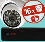 Sec-CAM 1MP AHD - KÜLTÉRI / BELTÉRI DÓM KAMERA - 16 KAMERÁS KOMPLETT KAMERARENDSZER - valódi 1 MegaPixel (HD 720p) biztonsági megfigyelő szett