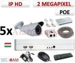 Sec-CAM 2MP 12V DC IP - KÜLTÉRI KOMPAKT KAMERA - 5 KAMERÁS KOMPLETT KAMERARENDSZER - valódi 2 MegaPixel (FULL HD 1080p) biztonsági megfigyelő szett - NVR