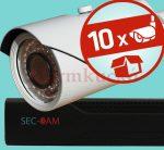 Sec-CAM 2MP POE IP - VARIFOKÁLIS KÜLTÉRI KOMPAKT KAMERA - 10 KAMERÁS KOMPLETT KAMERARENDSZER - valódi 2 MegaPixel (FULL HD 1080p) biztonsági megfigyelő szett