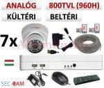 Sec-CAM 960H - 800-1200TVL (0.55MP) ANALÓG - KÜLTÉRI/BELTÉRI DÓM KAMERA - 7 KAMERÁS KOMPLETT KAMERARENDSZER - biztonsági megfigyelő szett