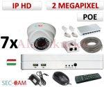 Sec-CAM 2MP 12V DC IP - KÜLTÉRI / BELTÉRI DÓM KAMERA - 7 KAMERÁS KOMPLETT KAMERARENDSZER - valódi 2 MegaPixel (FULL HD 1080p) biztonsági megfigyelő szett - NETPEARL NVR
