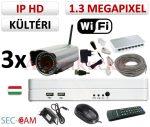 Sec-CAM 1.3MP WIFI IP - KÜLTÉRI WIFI KOMPAKT KAMERA - 3 KAMERÁS KOMPLETT KAMERARENDSZER - vezeték nélküli valódi 1.3 MegaPixel (HD 960p) biztonsági megfigyelő szett