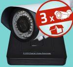 Sec-CAM 2MP 12V DC IP - VARIFOKÁLIS KÜLTÉRI KOMPAKT KAMERA - 3 KAMERÁS KOMPLETT KAMERARENDSZER - valódi 2 MegaPixel (FULL HD 1080p) biztonsági megfigyelő szett