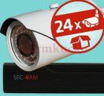 Sec-CAM 2MP POE IP - VARIFOKÁLIS KÜLTÉRI KOMPAKT KAMERA - 24 KAMERÁS KOMPLETT KAMERARENDSZER - valódi 2 MegaPixel (FULL HD 1080p) biztonsági megfigyelő szett