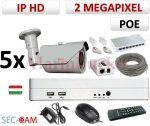 Sec-CAM 2MP 12V DC IP - VARIFOKÁLIS KÜLTÉRI KOMPAKT KAMERA - 5 KAMERÁS KOMPLETT KAMERARENDSZER - valódi 2 MegaPixel (FULL HD 1080p) biztonsági megfigyelő szett - NETPEARL NVR