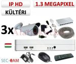 Sec-CAM 1.3MP IP - KÜLTÉRI KOMPAKT KAMERA - 3 KAMERÁS KOMPLETT KAMERARENDSZER - valódi 1.3 MegaPixel (HD 960p) biztonsági megfigyelő szett
