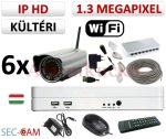 Sec-CAM 1.3MP WIFI IP - KÜLTÉRI WIFI KOMPAKT KAMERA - 6 KAMERÁS KOMPLETT KAMERARENDSZER - vezeték nélküli valódi 1.3 MegaPixel (HD 960p) biztonsági megfigyelő szett
