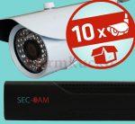 Sec-CAM 1.3MP IP - KÜLTÉRI KOMPAKT KAMERA - 10 KAMERÁS KOMPLETT KAMERARENDSZER - valódi 1.3 MegaPixel (HD 960p) biztonsági megfigyelő szett