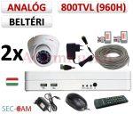 Sec-CAM 960H - 800-1200TVL (0.55MP) ANALÓG - BELTÉRI DÓM KAMERA - 2 KAMERÁS KOMPLETT KAMERARENDSZER - biztonsági megfigyelő szett