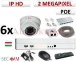 Sec-CAM 2MP 12V DC IP - KÜLTÉRI / BELTÉRI DÓM KAMERA - 6 KAMERÁS KOMPLETT KAMERARENDSZER - valódi 2 MegaPixel (FULL HD 1080p) biztonsági megfigyelő szett - NETPEARL NVR