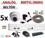Sec-CAM 960H - 800-1200TVL (0.55MP) ANALÓG - BELTÉRI DÓM KAMERA - 5 KAMERÁS KOMPLETT KAMERARENDSZER - biztonsági megfigyelő szett