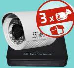 Sec-CAM 2MP POE IP - KÜLTÉRI KOMPAKT KAMERA - 3 KAMERÁS KOMPLETT KAMERARENDSZER - valódi 2 MegaPixel (FULL HD 1080p) biztonsági megfigyelő szett
