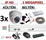 Sec-CAM 1MP IP - KÜLTÉRI / BELTÉRI DÓM KAMERA - 3 KAMERÁS KOMPLETT KAMERARENDSZER - valódi 1 MegaPixel (HD 720p) biztonsági megfigyelő szett