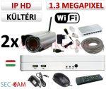 Sec-CAM 1.3MP WIFI IP - KÜLTÉRI WIFI KOMPAKT KAMERA - 2 KAMERÁS KOMPLETT KAMERARENDSZER - vezeték nélküli valódi 1.3 MegaPixel (HD 960p) biztonsági megfigyelő szett