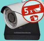 Sec-CAM 2MP AHD - VARIFOKÁLIS KÜLTÉRI KOMPAKT KAMERA - 5 KAMERÁS KOMPLETT KAMERARENDSZER - valódi 2 MegaPixel (FULL HD 1080p) biztonsági megfigyelő szett