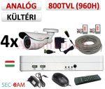 Sec-CAM 960H - 800-1200TVL (0.55MP) ANALÓG - KÜLTÉRI KOMPAKT KAMERA - 4 KAMERÁS KOMPLETT KAMERARENDSZER - biztonsági megfigyelő szett