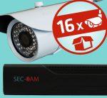 Sec-CAM 2MP AHD - KÜLTÉRI KOMPAKT KAMERA - 16 KAMERÁS KOMPLETT KAMERARENDSZER - valódi 2 MegaPixel (FULL HD 1080p) biztonsági megfigyelő szett