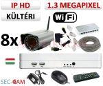 Sec-CAM 1.3MP WIFI IP - KÜLTÉRI WIFI KOMPAKT KAMERA - 8 KAMERÁS KOMPLETT KAMERARENDSZER - vezeték nélküli valódi 1.3 MegaPixel (HD 960p) biztonsági megfigyelő szett